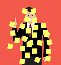 Businessman with a lot of sticky notes vector