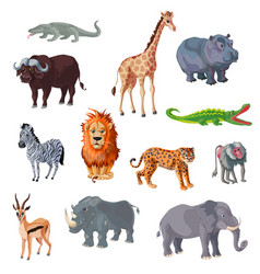 Cartoon african animals set vector
