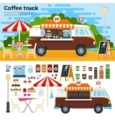 Coffee truck on street in the city vector