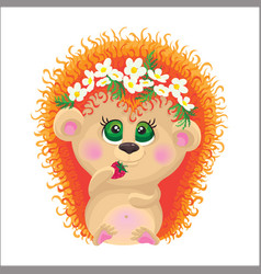 cute hedgehog on a white background vector image vector image