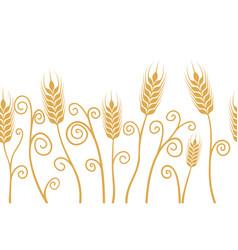 ears of wheat horizontal border seamless vector image vector image