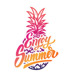 Enjoy summer hand drawn lettering phrase on white vector
