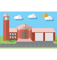 Flat design of fire station building in flat vector