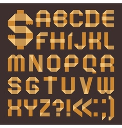 Font from yellowish scotch tape - roman alphabet vector