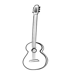 guitar acoustics icon black and white vector image vector image