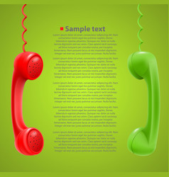 Hanging colored handsets vector