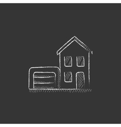 House with garage Drawn in chalk icon vector image vector image