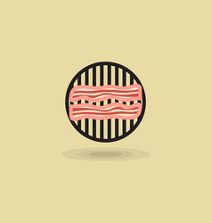 icon two slices bacon on barbecue grill vector image vector image