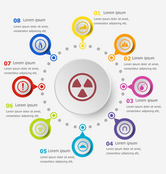 Infographic template with warning sign icons vector