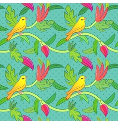 Nature seamless pattern with birds and leafs vector