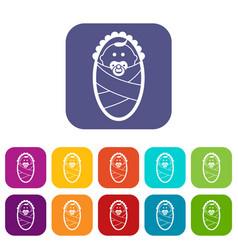 Newborn icons set vector