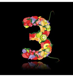 number three made from fruits vector image vector image