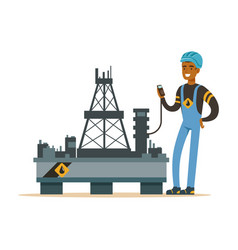 Oilman inspecting equipment on an oil rig drilling vector