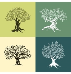Olive trees silhouette isolated icon set vector image vector image