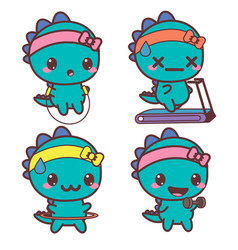 set of dinosaur is engaged in sports stickers vector image