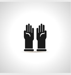 Simple black icon of pair latex gloves vector