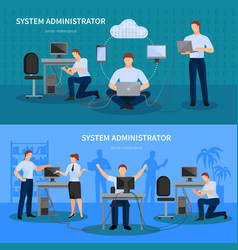 system administrator banners set vector image vector image