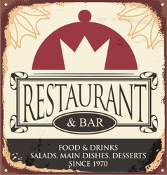 Vintage restaurant sign template vector