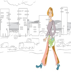 Woman walking vector