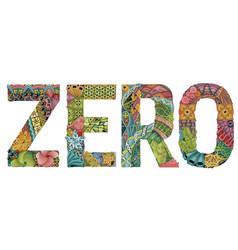 Word zero decorative zentangle object vector