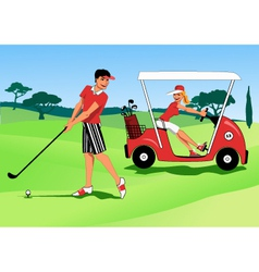 Young couple playing golf vector