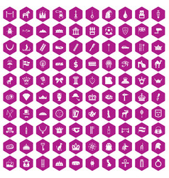 100 crown icons hexagon violet vector