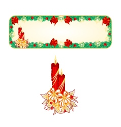 Banner christmas spruce with a candlestick vector