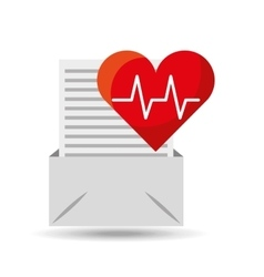Email open envelope paper heart cardiology vector