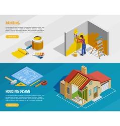 Home renovation isometric horizontal banners vector