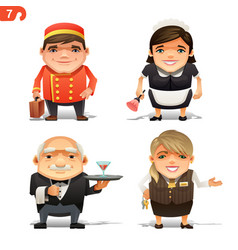 Hotel professions set vector
