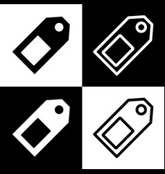 price tag sign  black and white icons and vector image