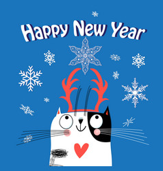 greeting card christmas with a funny cat vector image