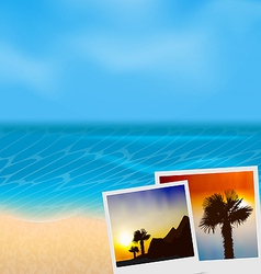 Set vacation beautiful beach photographies vector image