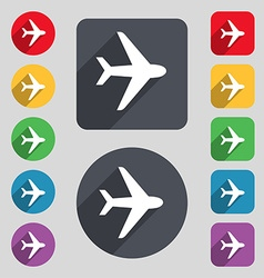 Plane icon sign a set of 12 colored buttons and a vector