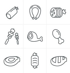 Line icons style black meat and sausage icon vector