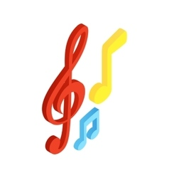 Music notes isometric 3d icon vector