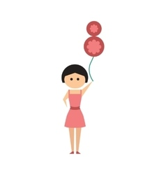 Flat icon on white background girl balloon vector