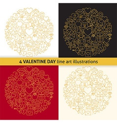 Gold Valentine Day Line Icons Circle Shape Set vector image