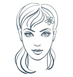 beautiful woman portrait linear vector image