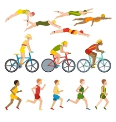 Triathlon athletes design stylized symbolizing vector