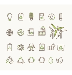 Thin line ecological icons set icons for vector
