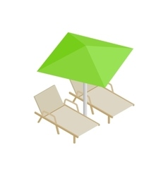 Deckchair and parasol icon isometric 3d style vector