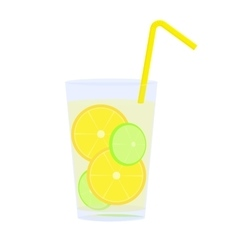 Icon of glass with lemonade straw and citrus vector