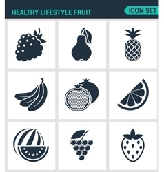 Set of modern icons healthy lifestyle vector
