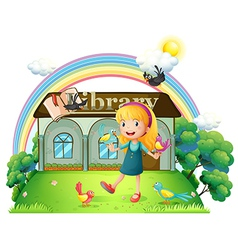 A girl dancing with birds outside the library vector