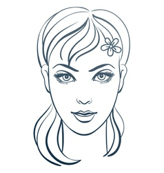 beautiful woman portrait linear vector image