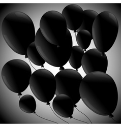 Black balloons on grey background vector
