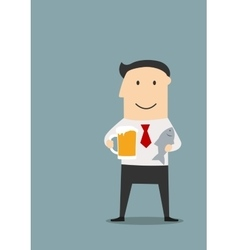 Businessman with beer and dried fish vector image