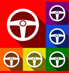Car driver sign set of icons with flat vector