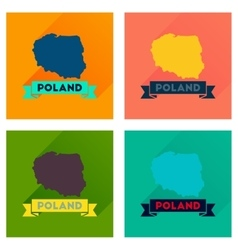 Concept flat icons with long shadow map of poland vector